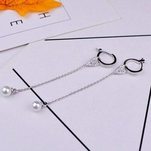 Henri Bendel Pearl Detachable Silver Earrings